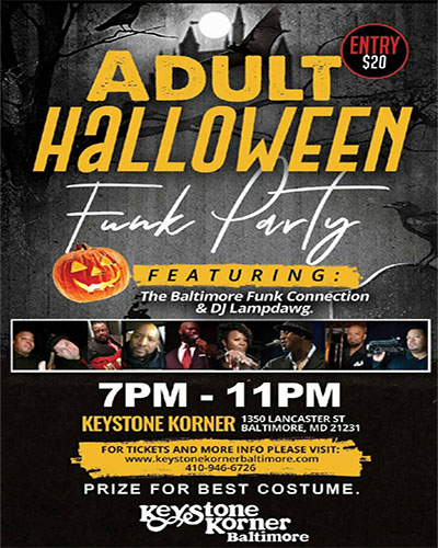 Adult Halloween Funk Party featuring The Baltimore Funk Connection flyer